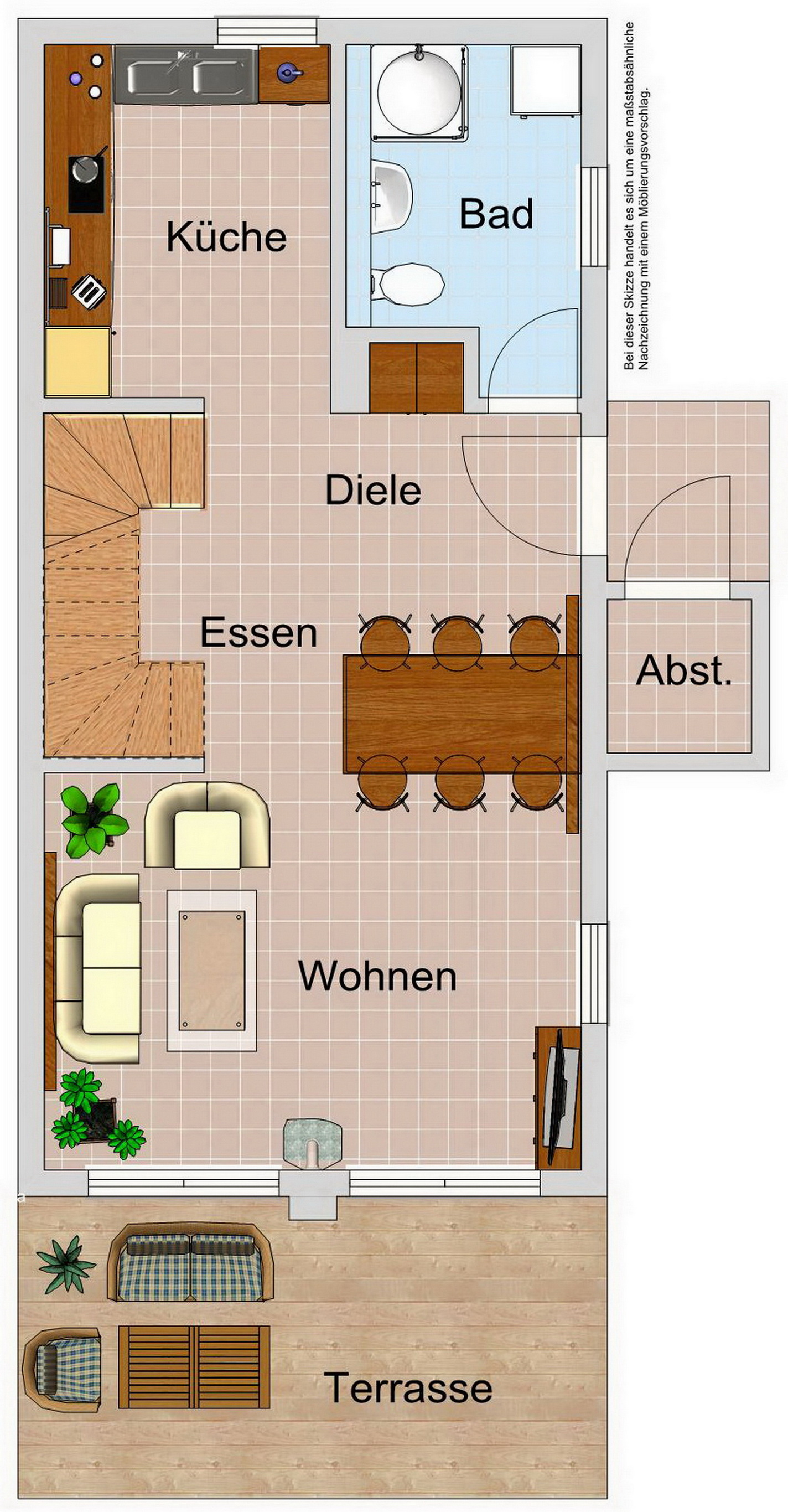 Ferienhaus Ostseedüne Rügen Glowe Möbelplan EG